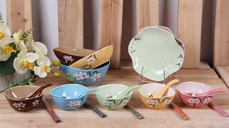 碟子、陶瓷碗、筷子餐具套装