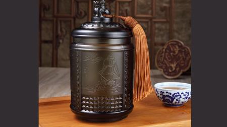 事事如意琉璃茶叶罐