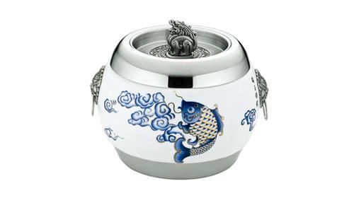 大展(金鱼)陶瓷不锈钢茶叶罐