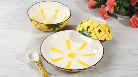 菠萝款式陶瓷餐具套装