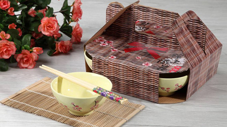竹筷子、手绘陶瓷碗套装
