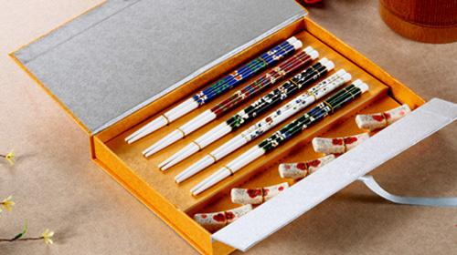 木筷+陶瓷架筷子 - 茗腾礼筷
