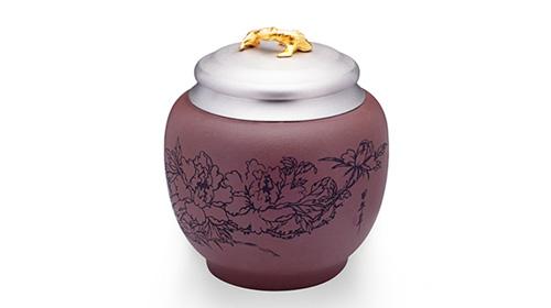 二乔争艳 泰国纯锡+紫砂茶叶罐