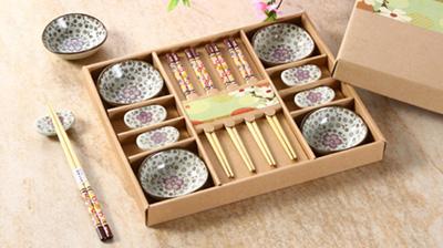 手绘陶瓷碟、筷架、筷子餐具套装