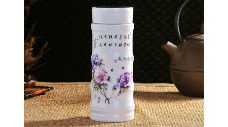 双层陶瓷竹节杯