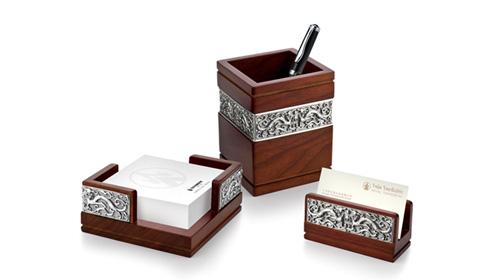 祥龙办公三件套(笔筒、便签盒、名片夹)