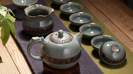 哥窑粗陶茶具套装
