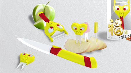 洪福齐天陶瓷削皮器、水果刀