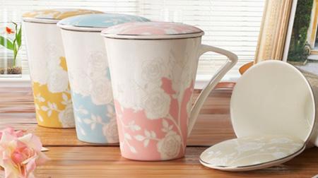 浮雕玫瑰花陶瓷杯