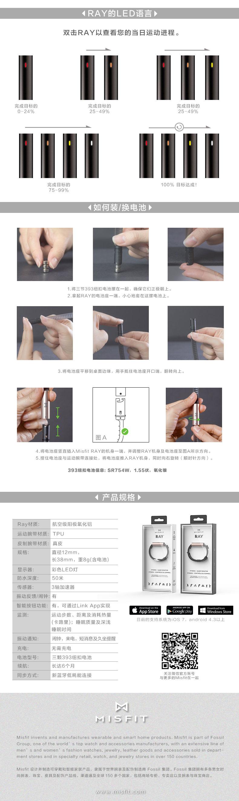 Misfit Ray 智能手环 运动腕带版 曜石黑(无需充电 50米防水 来电短信提醒 音乐自拍手机控制 时尚智能)