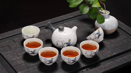 7头雪花水墨荷花茶具