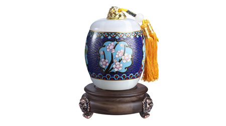景泰蓝镶玉福气茶叶罐