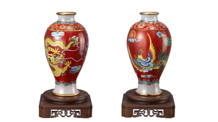 景泰蓝镶玉龙凤舞中华花瓶
