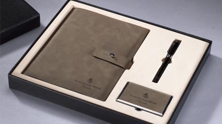 进口梵高皮活页笔记本、笔、名片盒套装