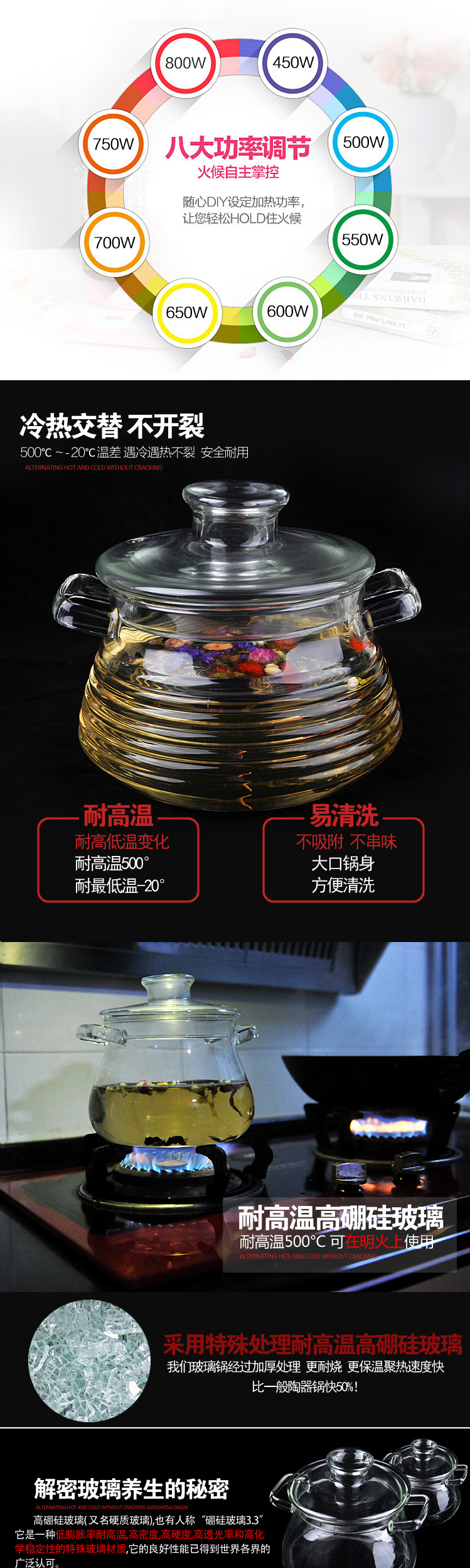 全自动电炖锅高硼玻璃锅、智能电砂锅、煮粥陶瓷锅、预约煲汤锅玻璃汤煲