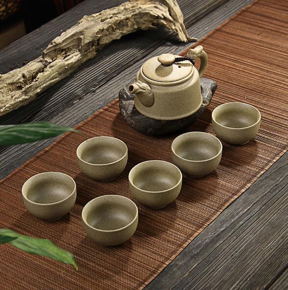 【库存】粗陶茶具套装7头