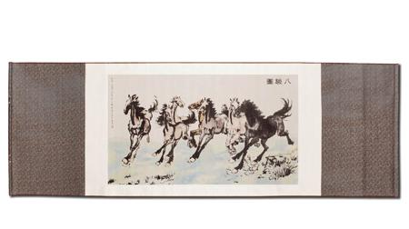 万事利《八骏图》织锦卷轴画