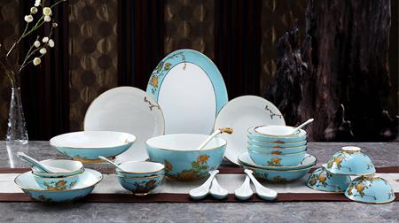 夫人瓷29头8人家用套装碗盘碟勺陶瓷中式餐具