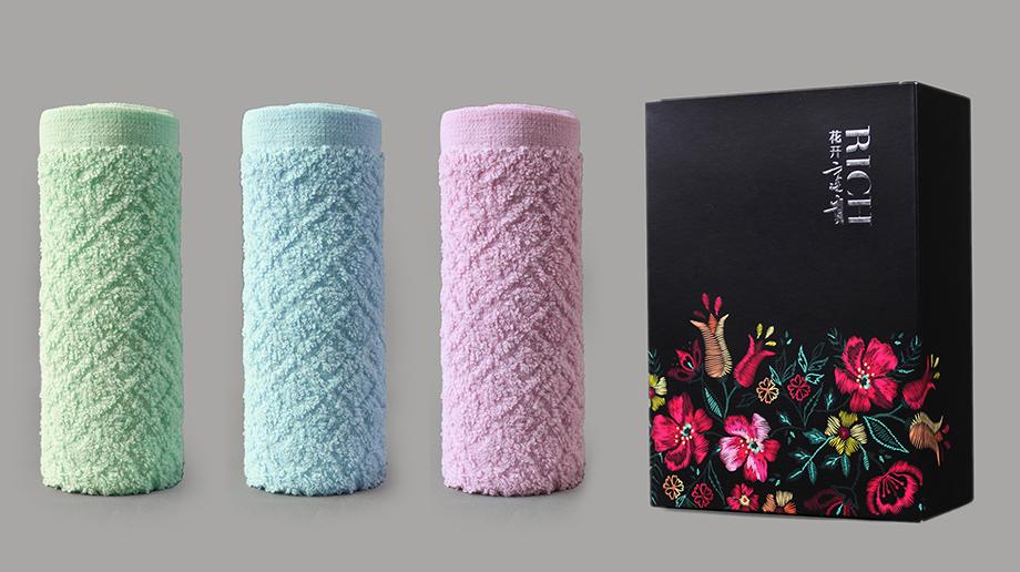 花值菱形两条毛巾礼盒装
