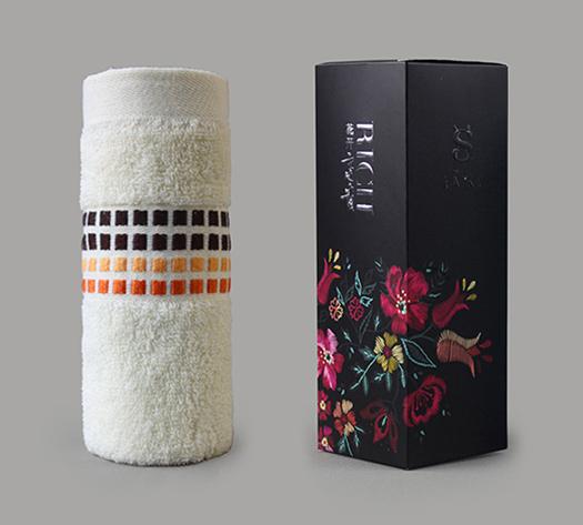 花值方格单条毛巾礼盒装
