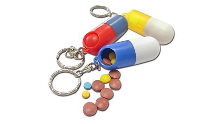 胶囊形药盒 创意迷你药盒带匙扣迷你塑料药盒