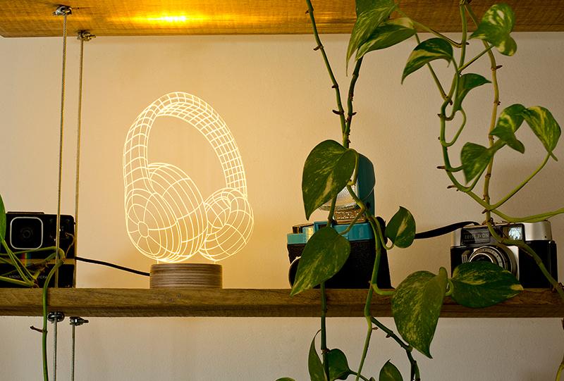 立体装饰台灯 耳机