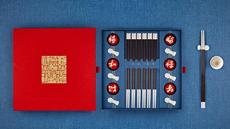 六六大顺-黑檀木银筷 贺岁礼盒